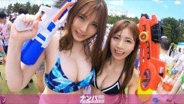 ファ●ファ●スプラッシュナンパ! 某テーマパークで行われたフェスで見つけた水着美女二人組!